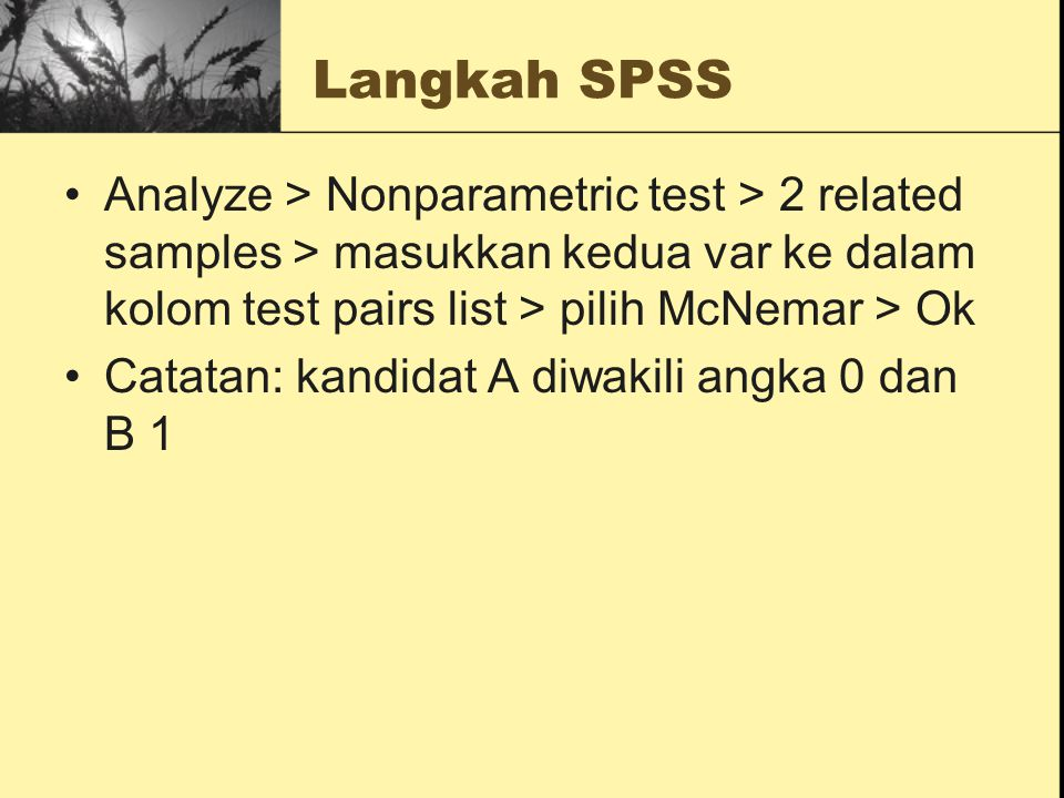 Langkah SPSS Analyze > Nonparametric test > 2 related samples > masukkan kedua var ke dalam kolom test pairs list > pilih McNemar > Ok.