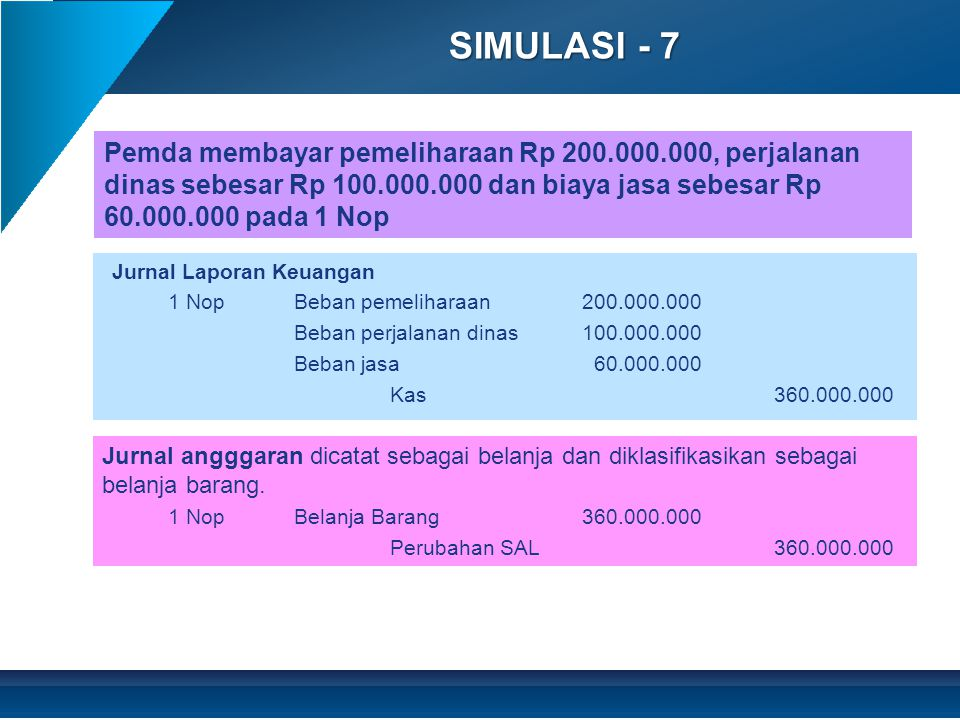 SIMULASI - 7 Pemda membayar pemeliharaan Rp 200.000.000, perjalanan dinas sebesar Rp 100.000.000 dan biaya jasa sebesar Rp 60.000.000 pada 1 Nop.