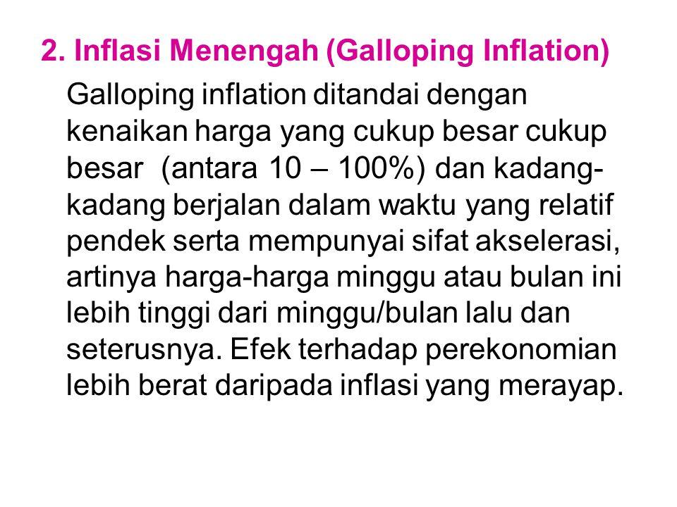 2. Inflasi Menengah (Galloping Inflation)