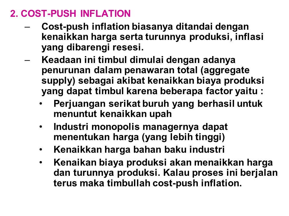 2. COST-PUSH INFLATION Cost-push inflation biasanya ditandai dengan kenaikkan harga serta turunnya produksi, inflasi yang dibarengi resesi.