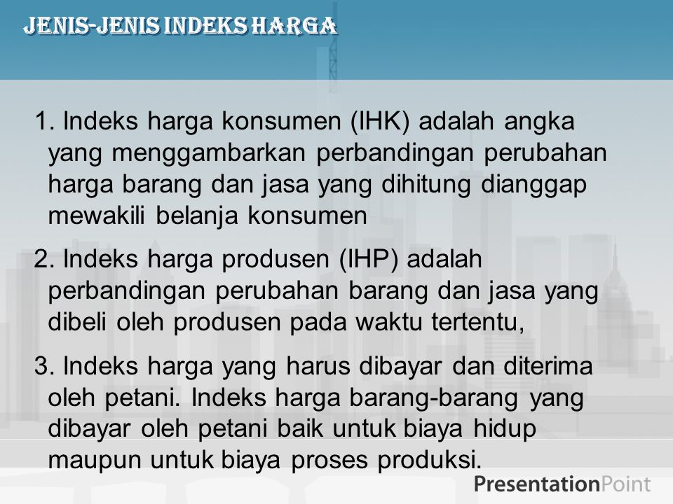 Jenis-jenis Indeks Harga
