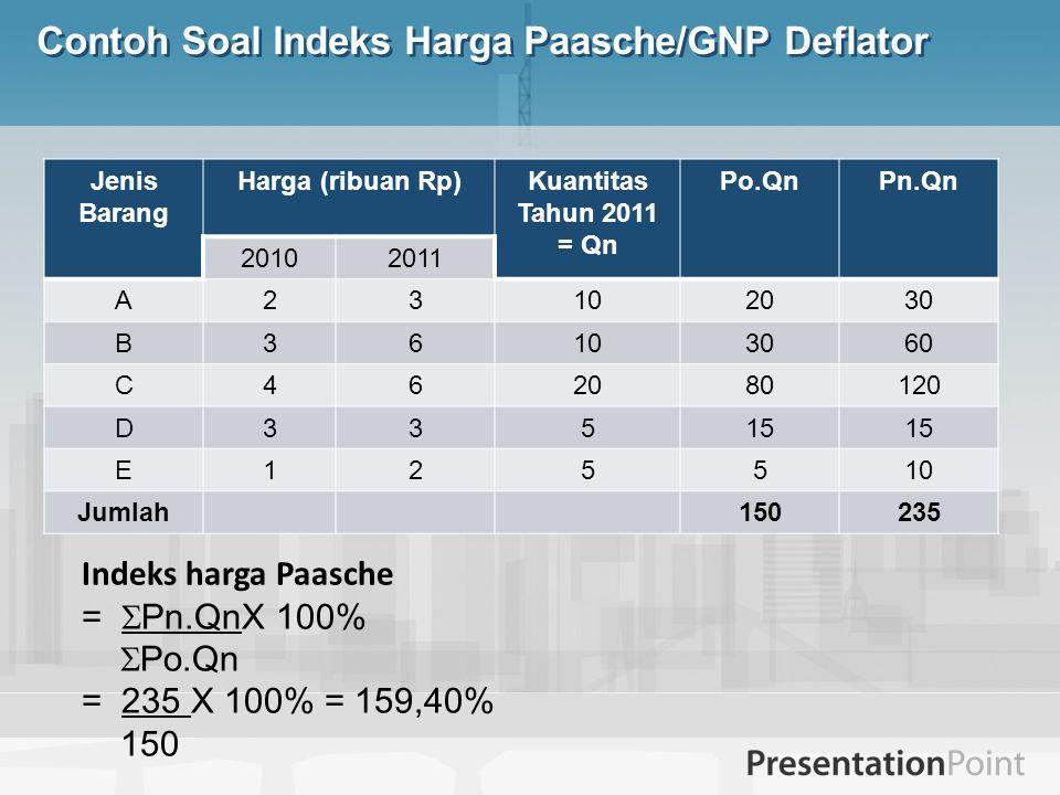 Contoh Soal Indeks Harga Paasche/GNP Deflator