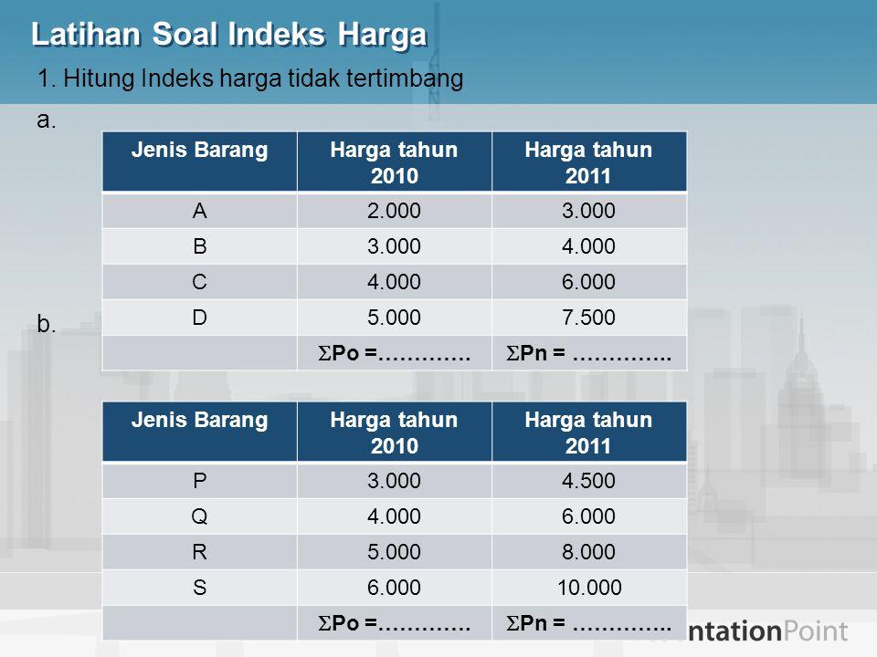 Latihan Soal Indeks Harga