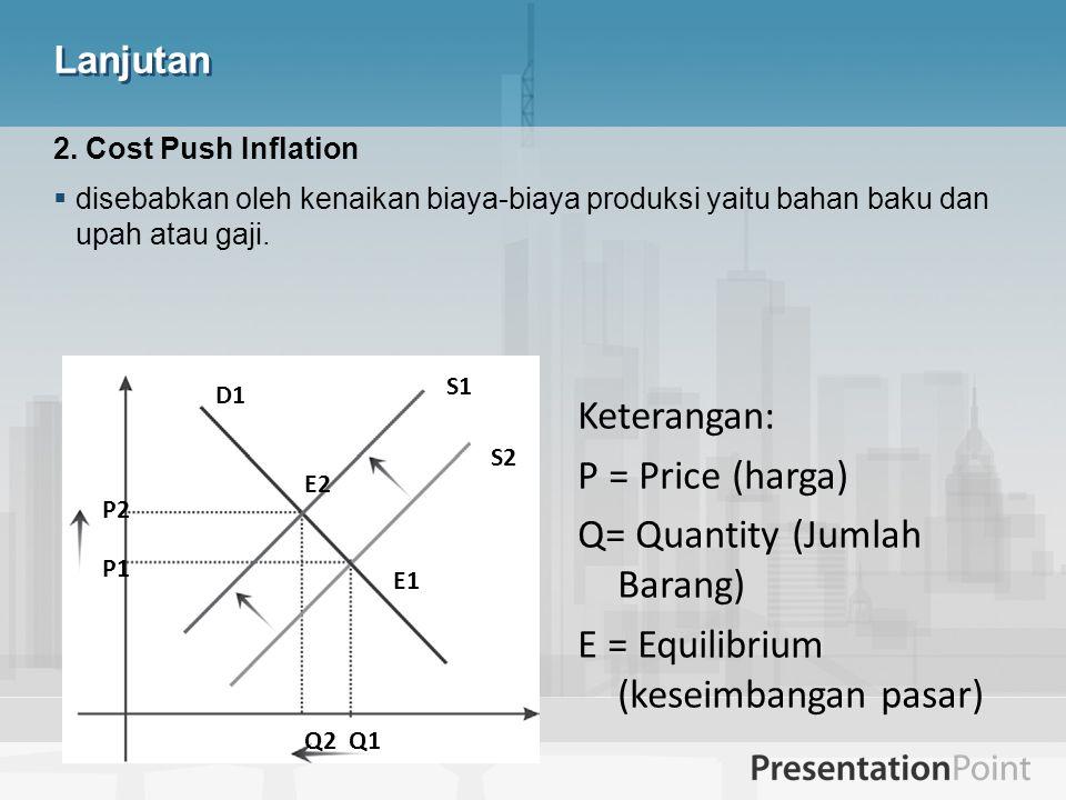 Q= Quantity (Jumlah Barang) E = Equilibrium (keseimbangan pasar)