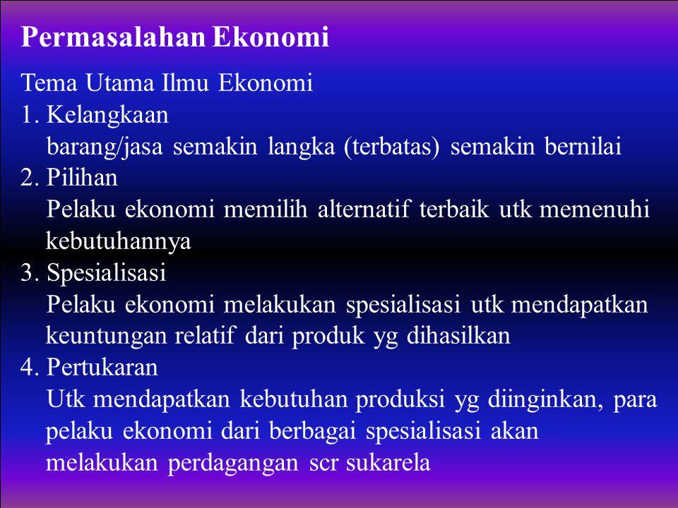 Permasalahan Ekonomi Tema Utama Ilmu Ekonomi 1. Kelangkaan