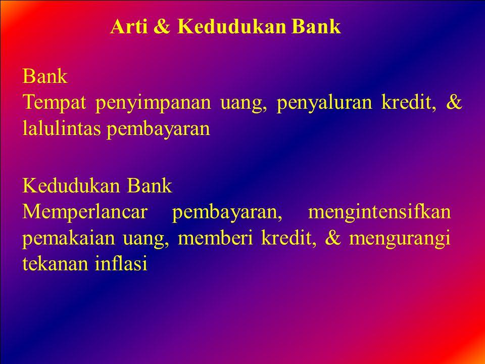 Arti & Kedudukan Bank Bank. Tempat penyimpanan uang, penyaluran kredit, & lalulintas pembayaran. Kedudukan Bank.