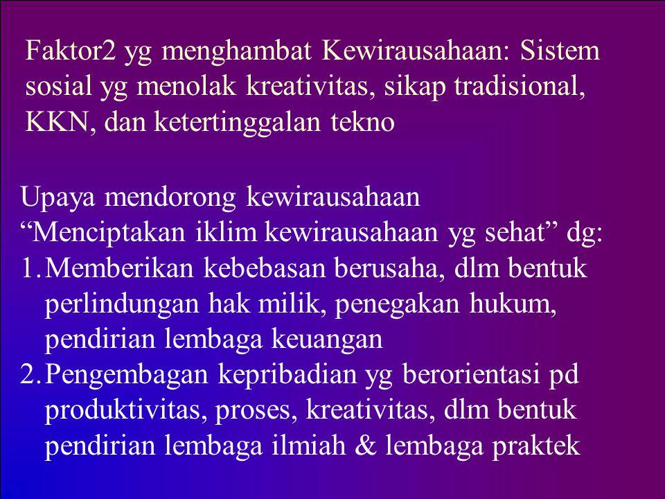 Faktor2 yg menghambat Kewirausahaan: Sistem