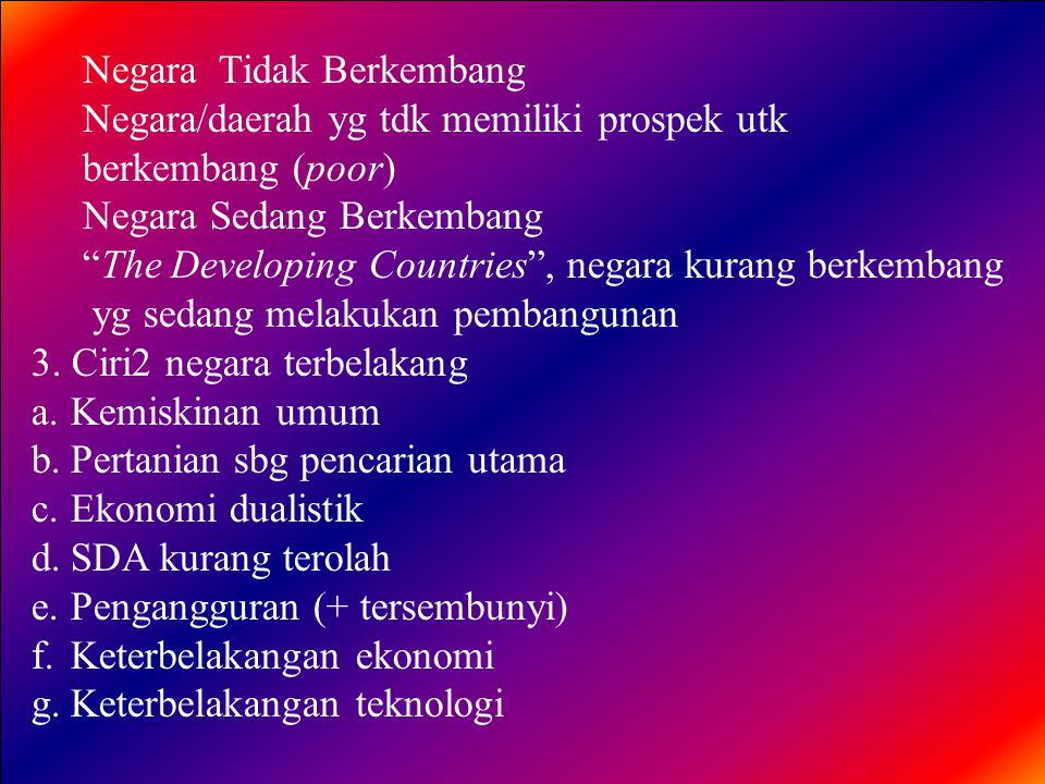 Negara Tidak Berkembang