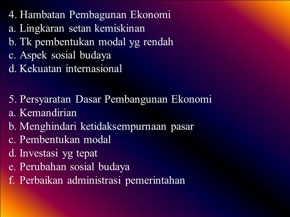 4. Hambatan Pembagunan Ekonomi