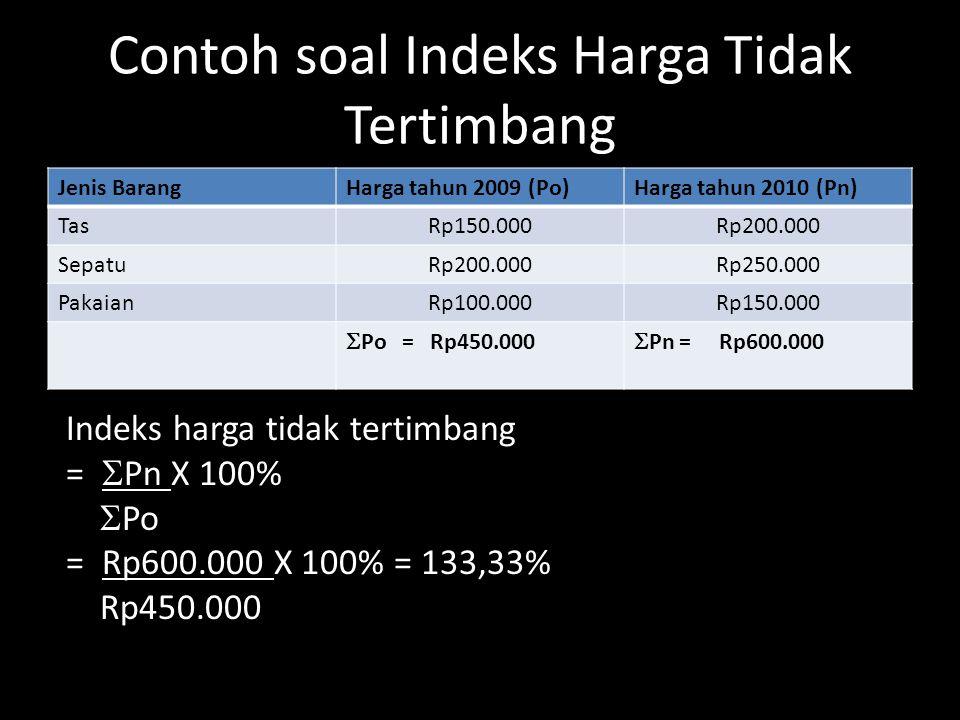 Contoh soal Indeks Harga Tidak Tertimbang