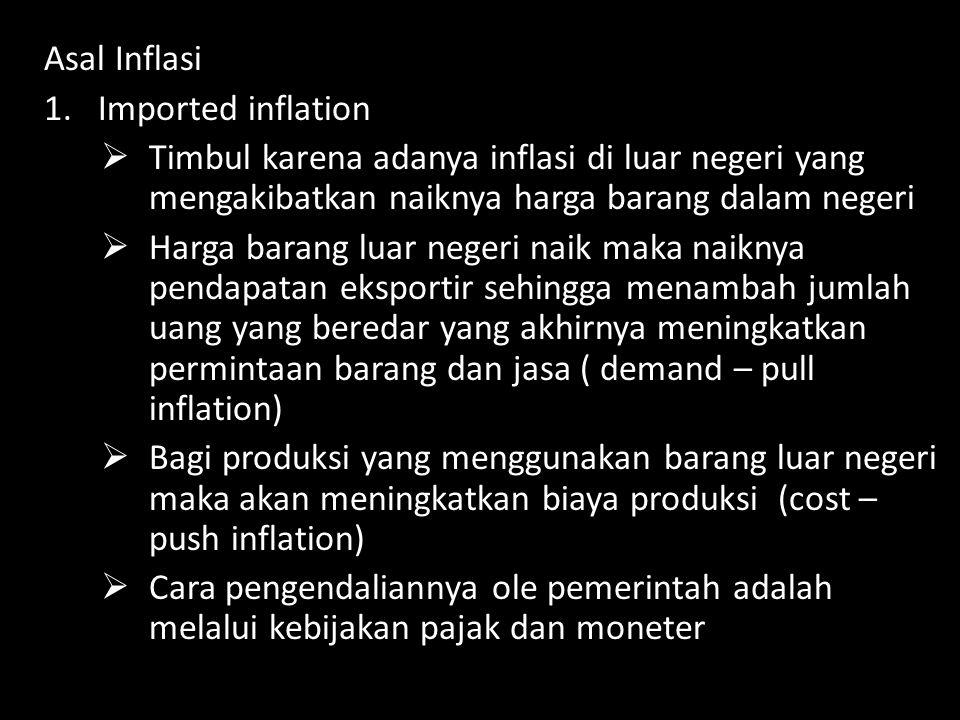 Asal Inflasi Imported inflation. Timbul karena adanya inflasi di luar negeri yang mengakibatkan naiknya harga barang dalam negeri.