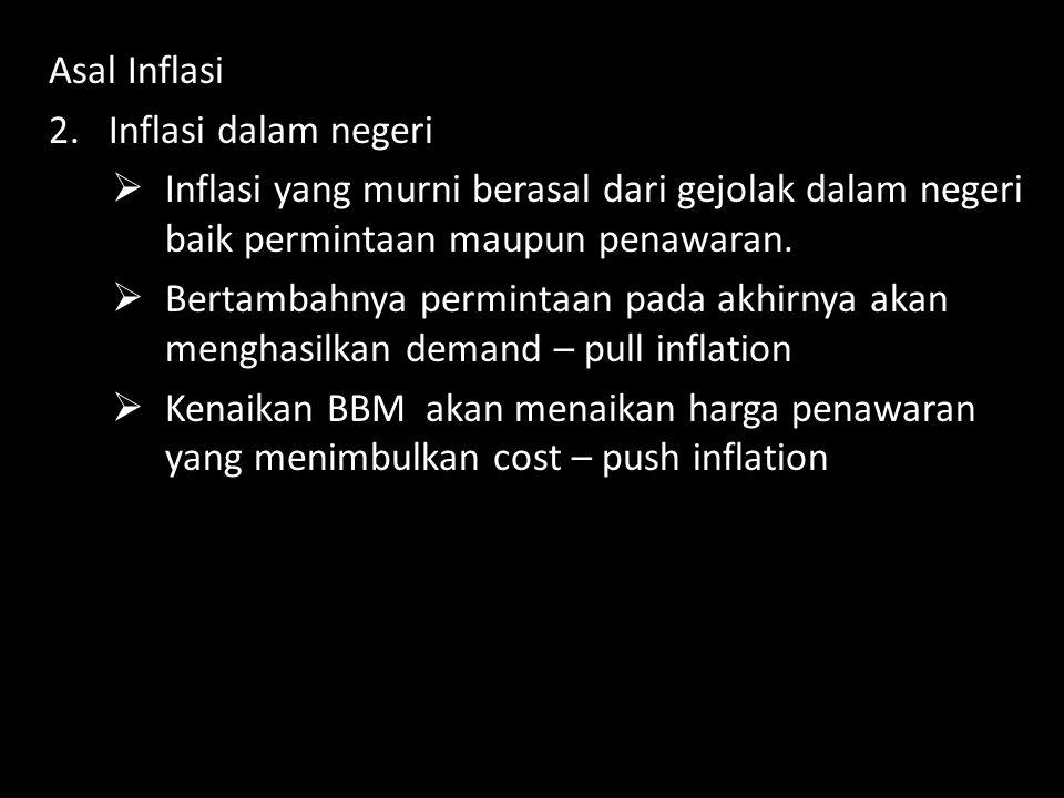 Asal Inflasi Inflasi dalam negeri. Inflasi yang murni berasal dari gejolak dalam negeri baik permintaan maupun penawaran.