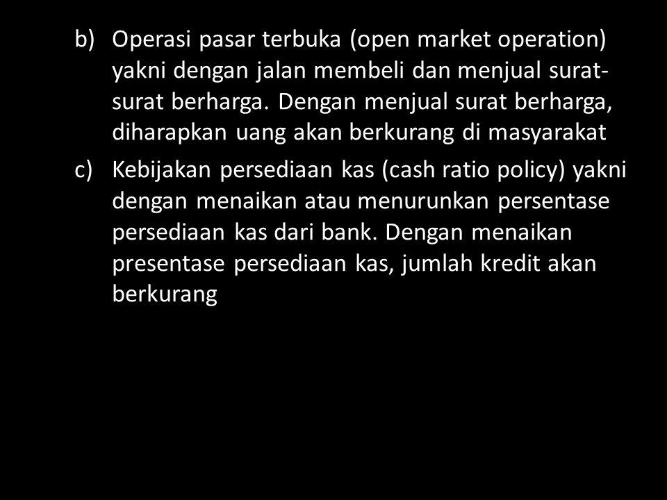 Operasi pasar terbuka (open market operation) yakni dengan jalan membeli dan menjual surat-surat berharga. Dengan menjual surat berharga, diharapkan uang akan berkurang di masyarakat