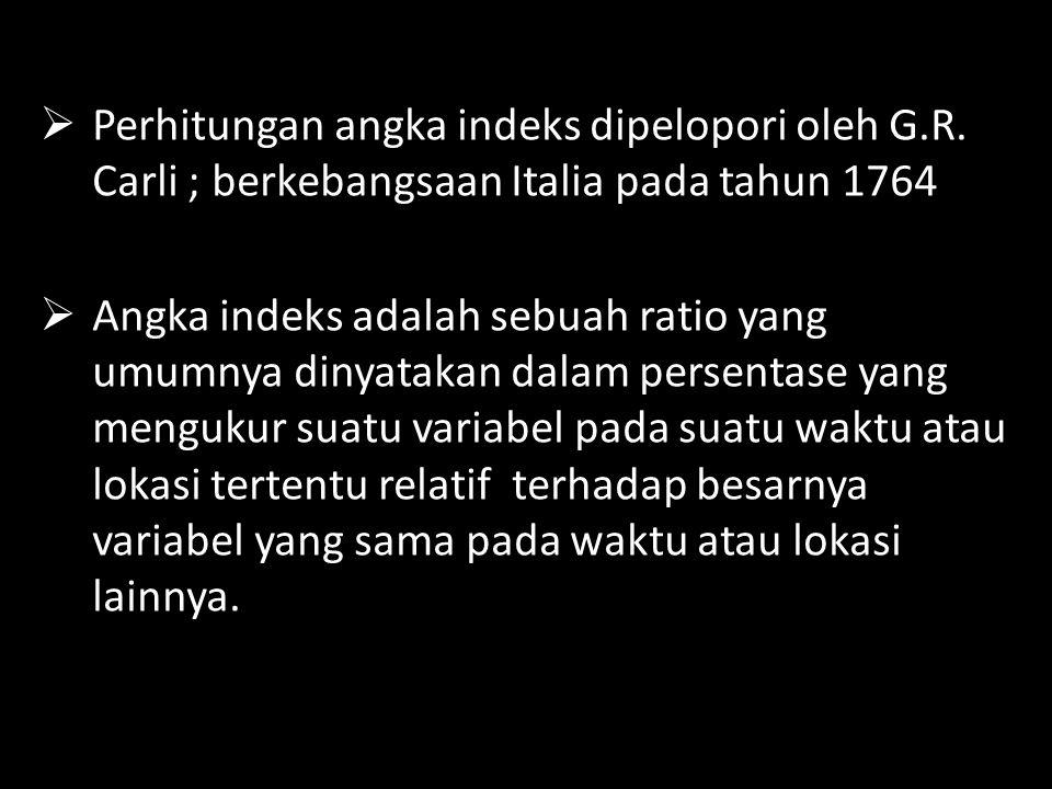 Perhitungan angka indeks dipelopori oleh G. R