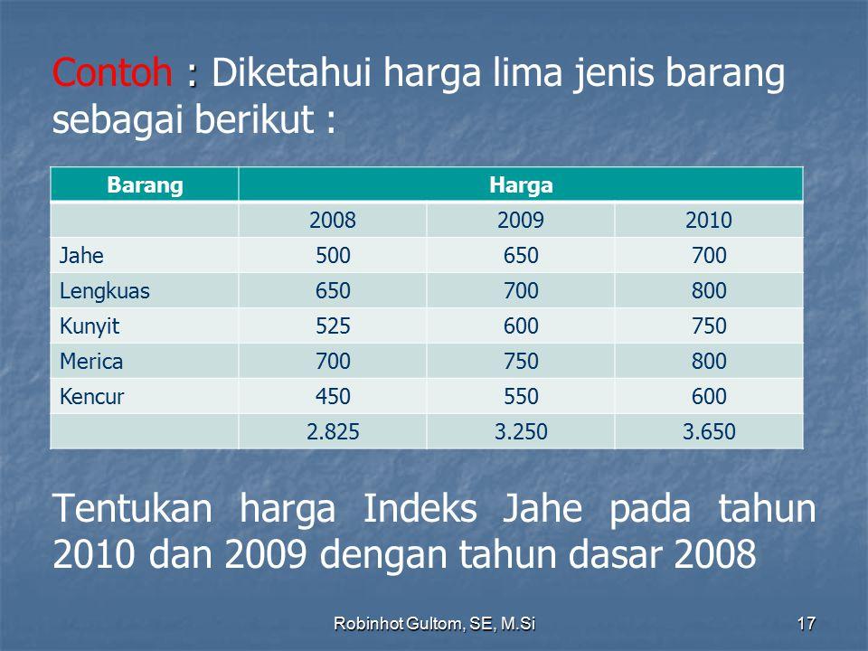 Contoh : Diketahui harga lima jenis barang sebagai berikut : Tentukan harga Indeks Jahe pada tahun 2010 dan 2009 dengan tahun dasar 2008
