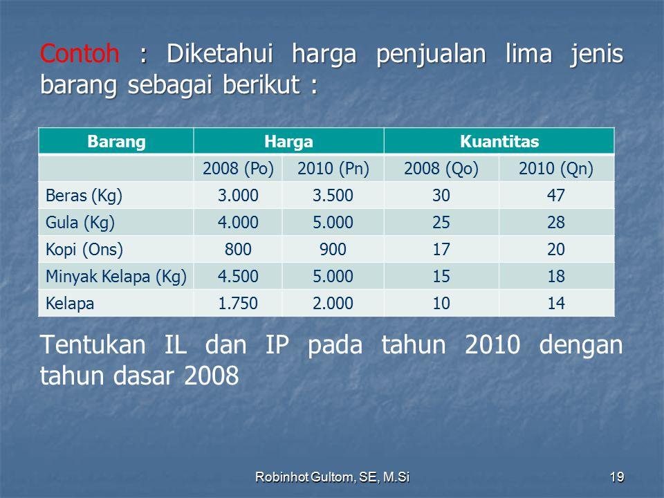 Contoh : Diketahui harga penjualan lima jenis barang sebagai berikut : Tentukan IL dan IP pada tahun 2010 dengan tahun dasar 2008