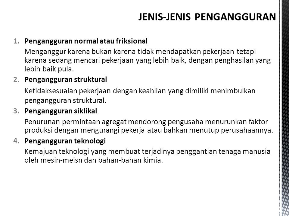 JENIS-JENIS PENGANGGURAN