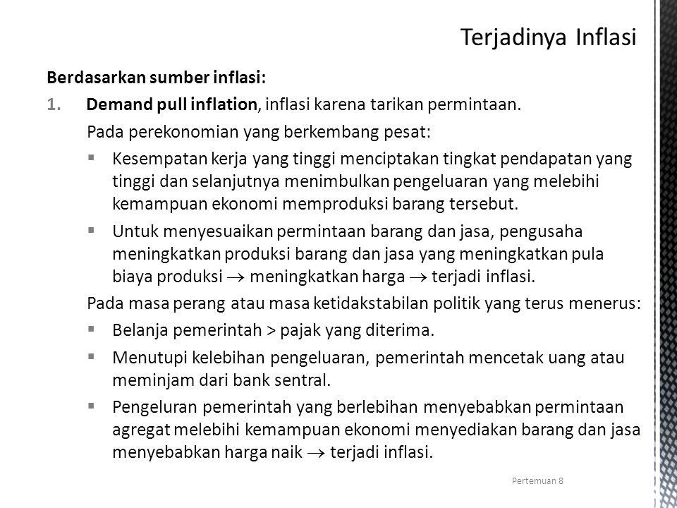 Terjadinya Inflasi Berdasarkan sumber inflasi: