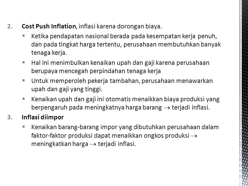 Cost Push Inflation, inflasi karena dorongan biaya.