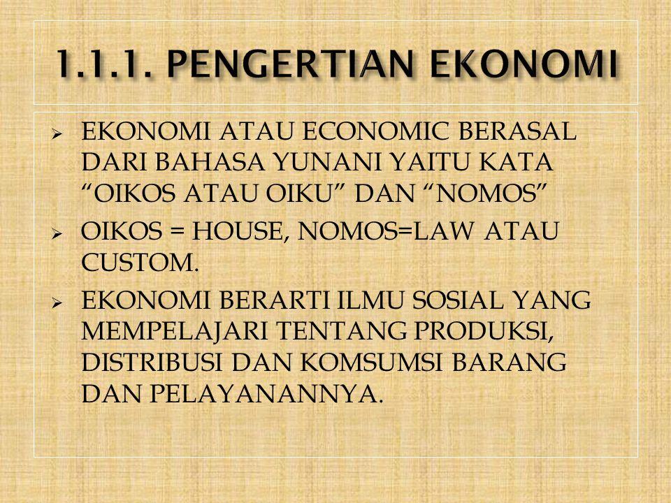 1.1.1. PENGERTIAN EKONOMI EKONOMI ATAU ECONOMIC BERASAL DARI BAHASA YUNANI YAITU KATA OIKOS ATAU OIKU DAN NOMOS