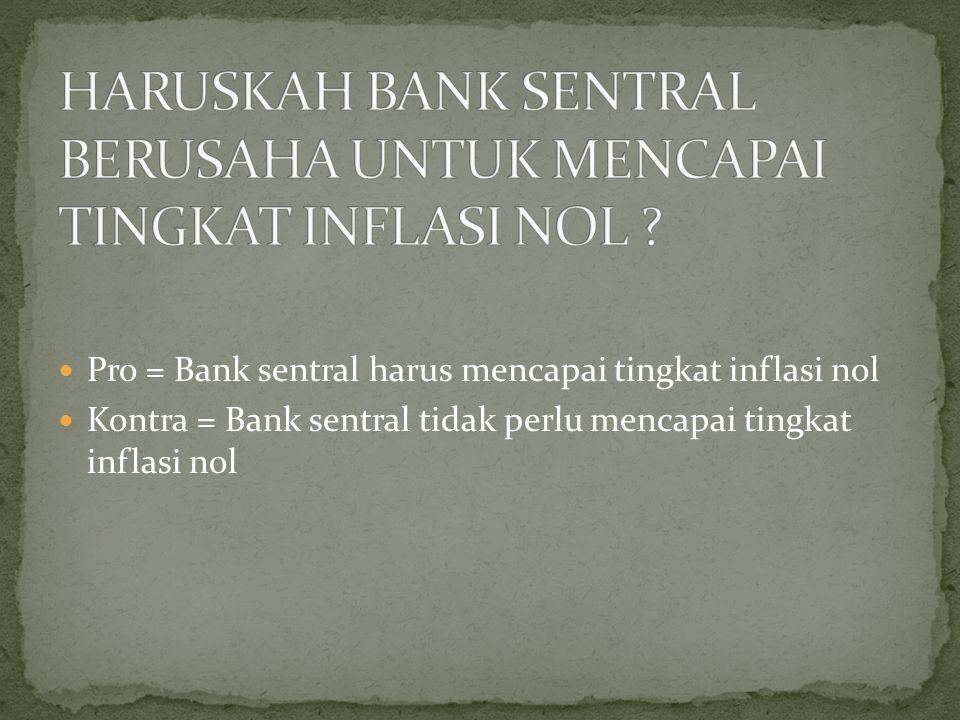 HARUSKAH BANK SENTRAL BERUSAHA UNTUK MENCAPAI TINGKAT INFLASI NOL