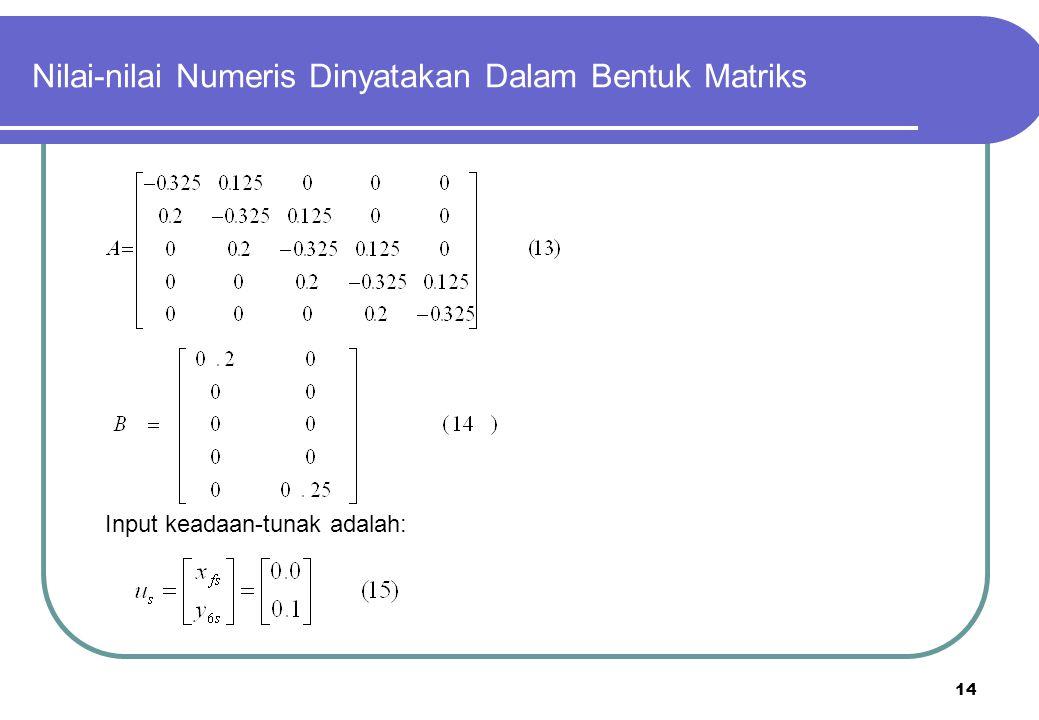 Nilai-nilai Numeris Dinyatakan Dalam Bentuk Matriks