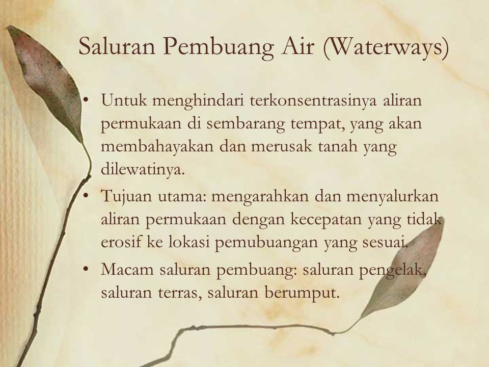 Saluran Pembuang Air (Waterways)