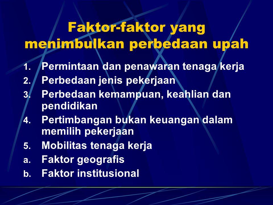 Faktor-faktor yang menimbulkan perbedaan upah