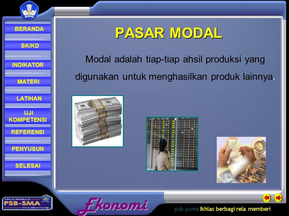 PASAR MODAL Modal adalah tiap-tiap ahsil produksi yang digunakan untuk menghasilkan produk lainnya.