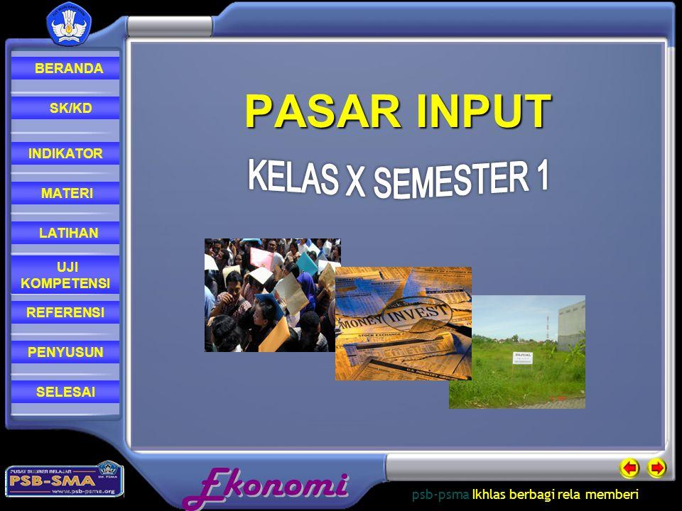 PASAR INPUT KELAS X SEMESTER 1