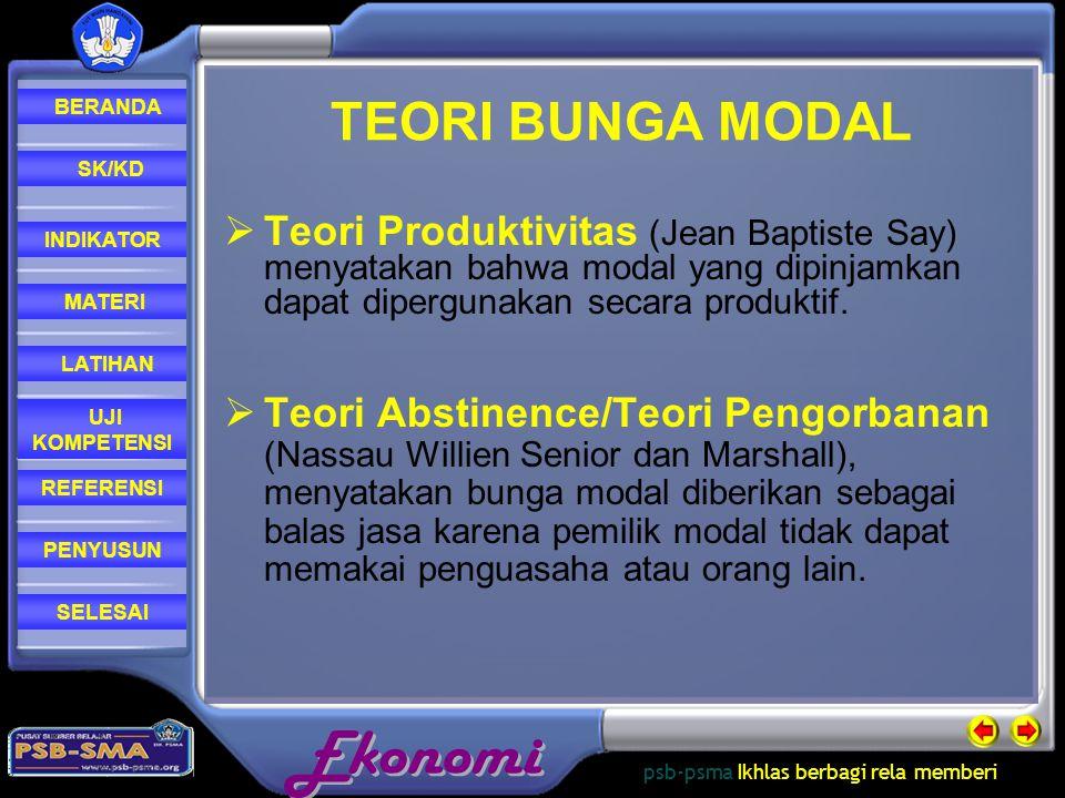 TEORI BUNGA MODAL Teori Produktivitas (Jean Baptiste Say) menyatakan bahwa modal yang dipinjamkan dapat dipergunakan secara produktif.