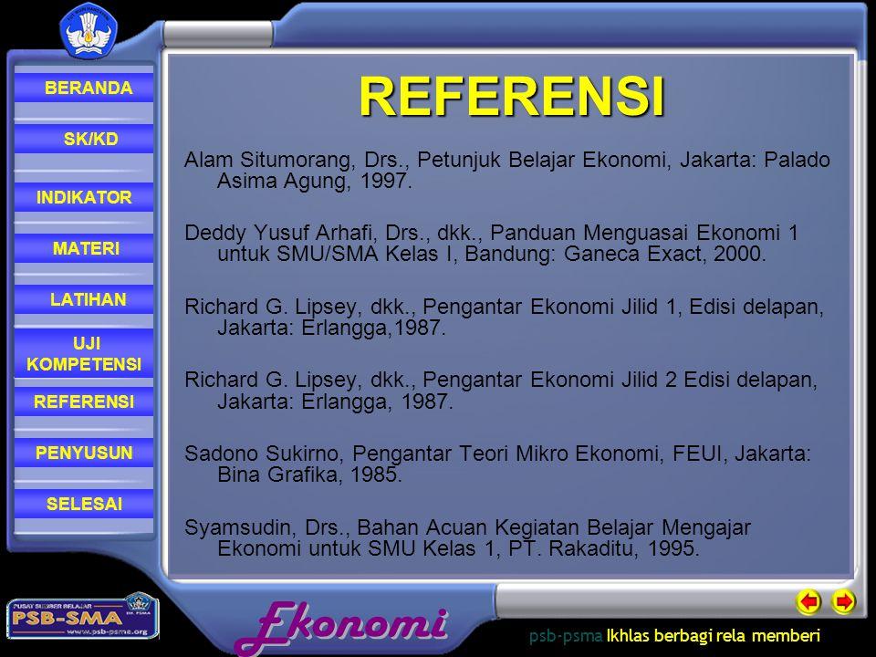 REFERENSI Alam Situmorang, Drs., Petunjuk Belajar Ekonomi, Jakarta: Palado Asima Agung, 1997.