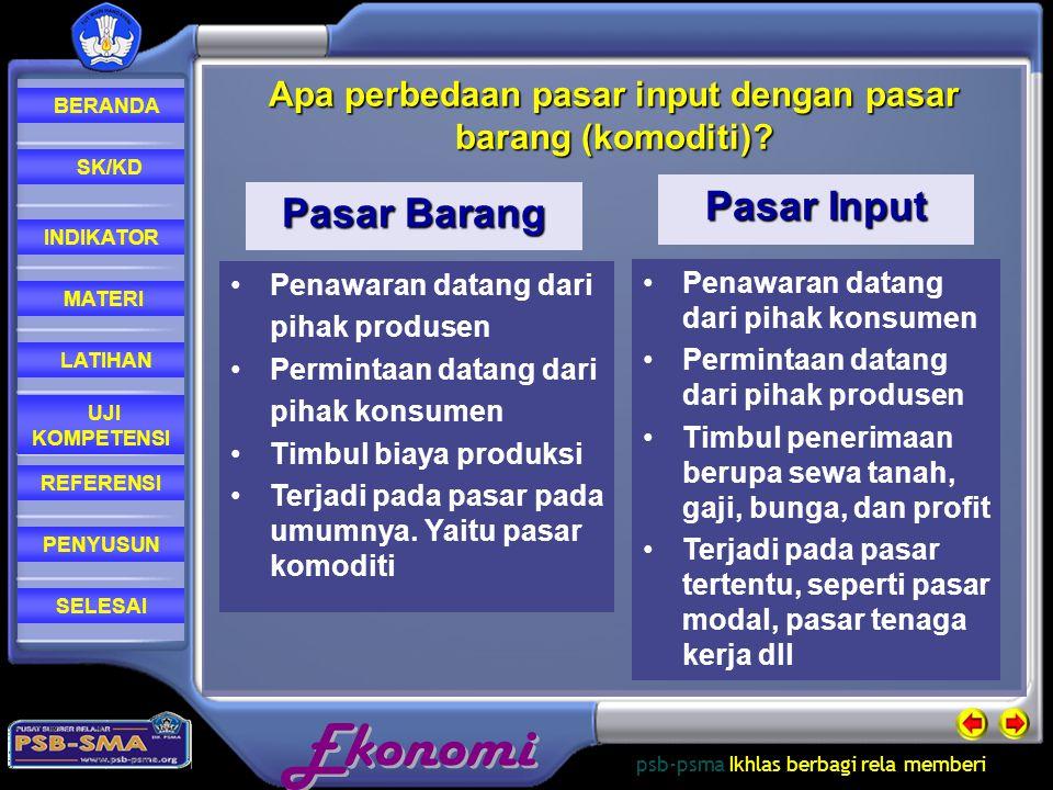 Apa perbedaan pasar input dengan pasar barang (komoditi)
