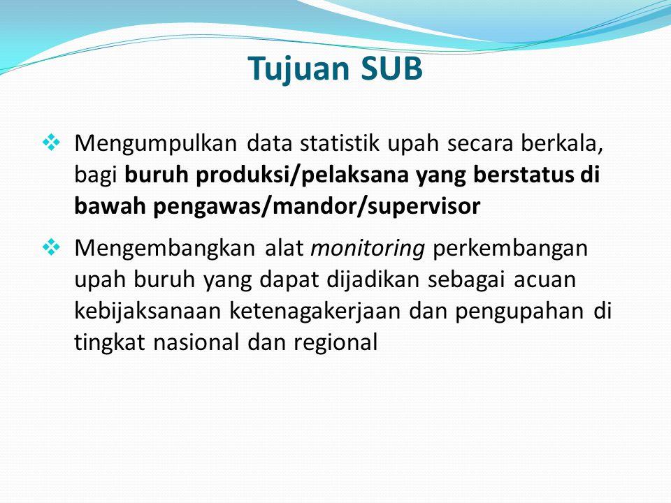 Tujuan SUB Mengumpulkan data statistik upah secara berkala, bagi buruh produksi/pelaksana yang berstatus di bawah pengawas/mandor/supervisor.