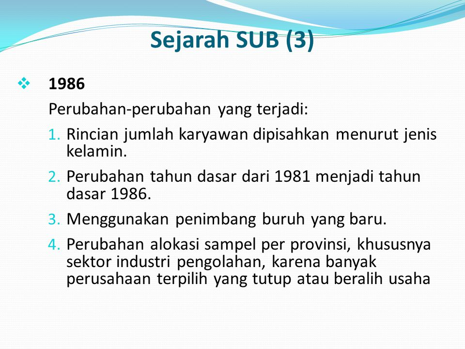 Sejarah SUB (3) 1986 Perubahan-perubahan yang terjadi: