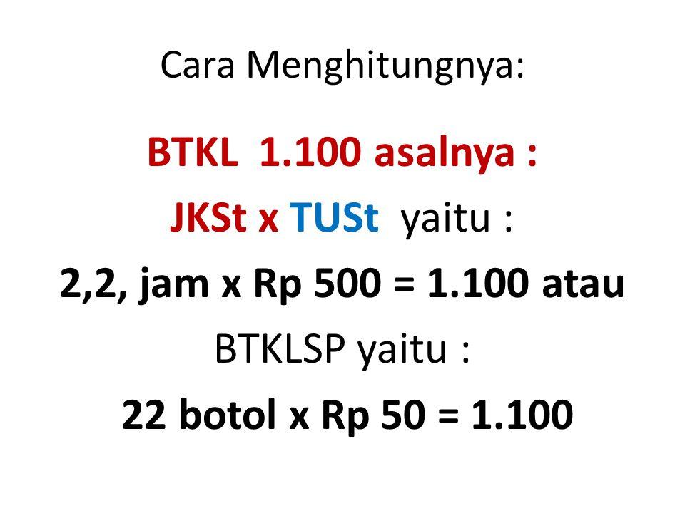 BTKL 1.100 asalnya : JKSt x TUSt yaitu :