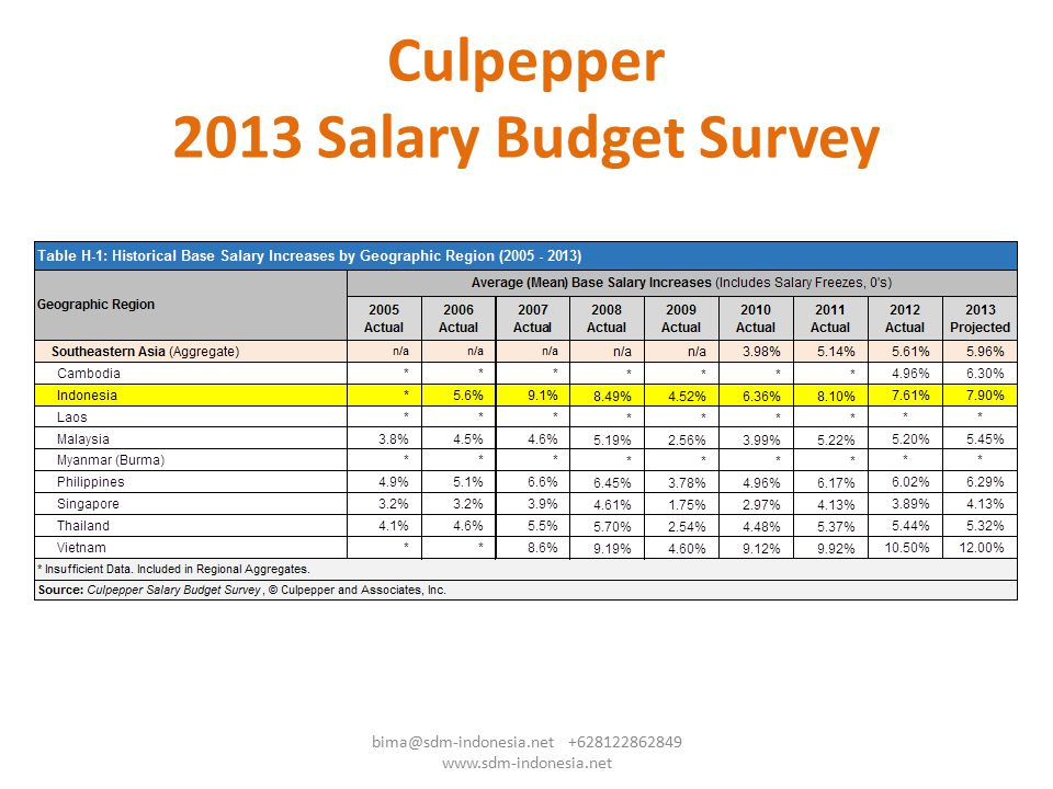 Culpepper 2013 Salary Budget Survey