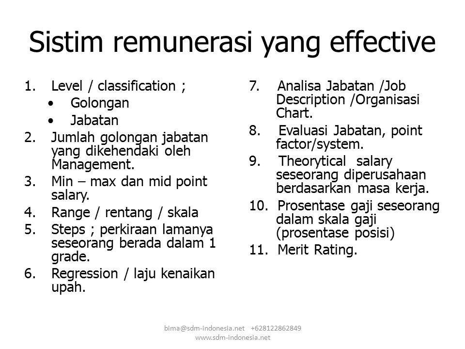 Sistim remunerasi yang effective