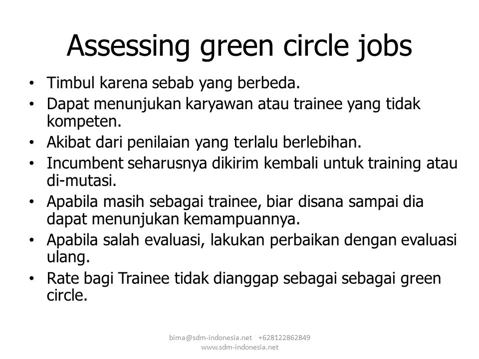 Assessing green circle jobs