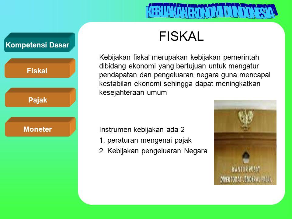 FISKAL 1. peraturan mengenai pajak 2. Kebijakan pengeluaran Negara
