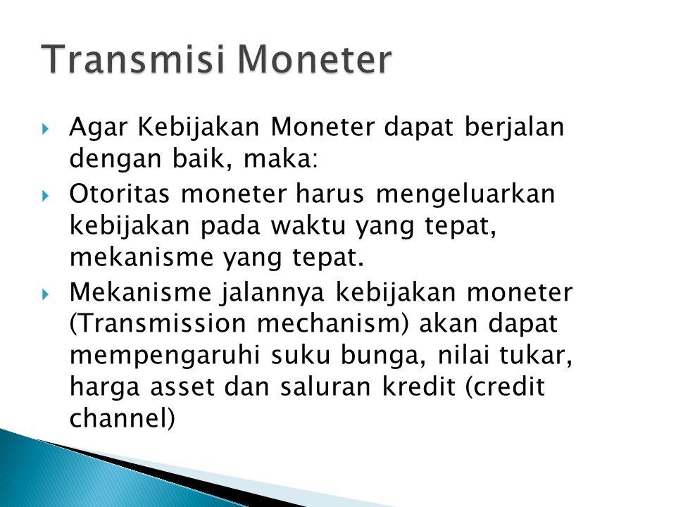 Transmisi Moneter Agar Kebijakan Moneter dapat berjalan dengan baik, maka: