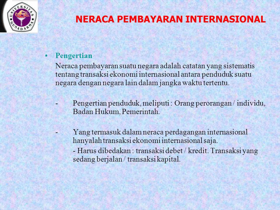 NERACA PEMBAYARAN INTERNASIONAL