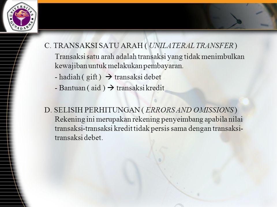 C. TRANSAKSI SATU ARAH ( UNILATERAL TRANSFER )