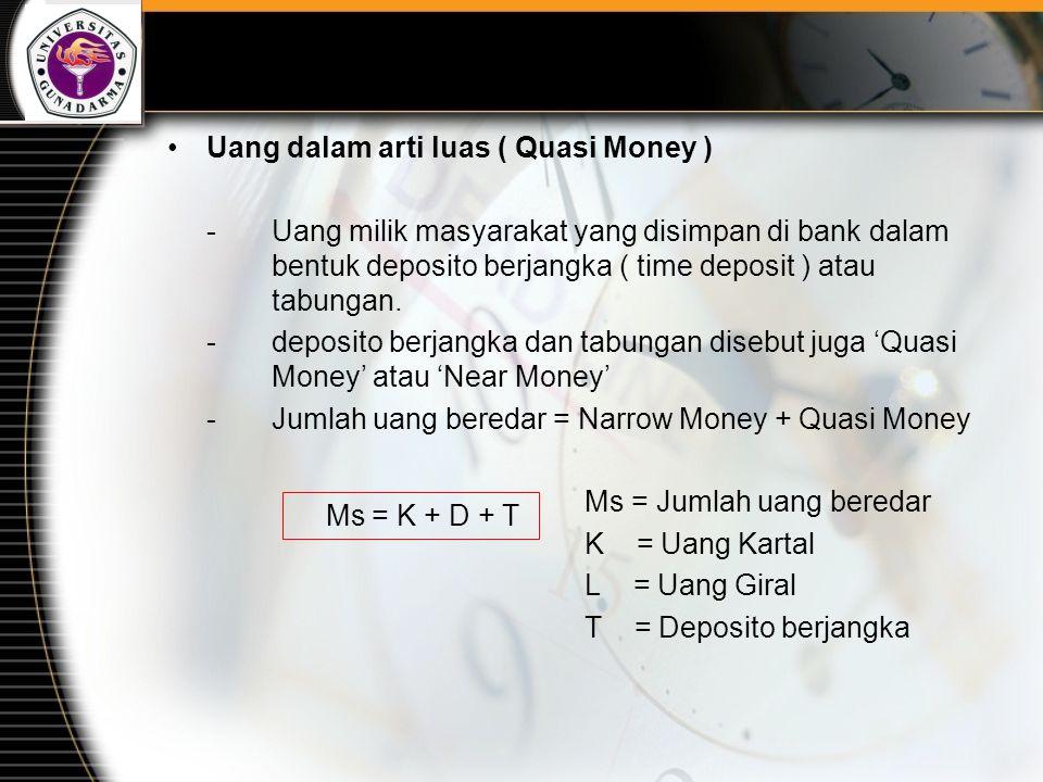 Uang dalam arti luas ( Quasi Money )