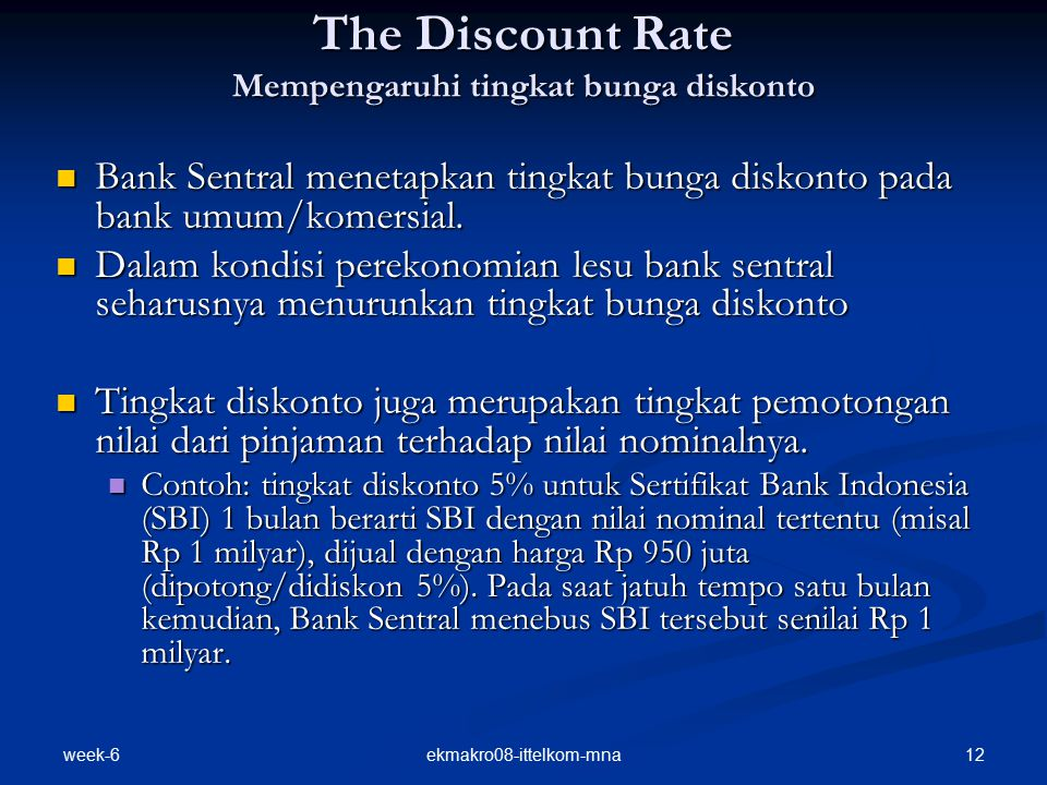 The Discount Rate Mempengaruhi tingkat bunga diskonto