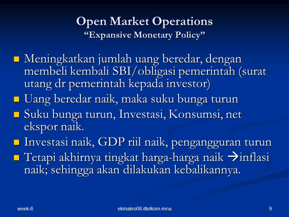 Open Market Operations Expansive Monetary Policy