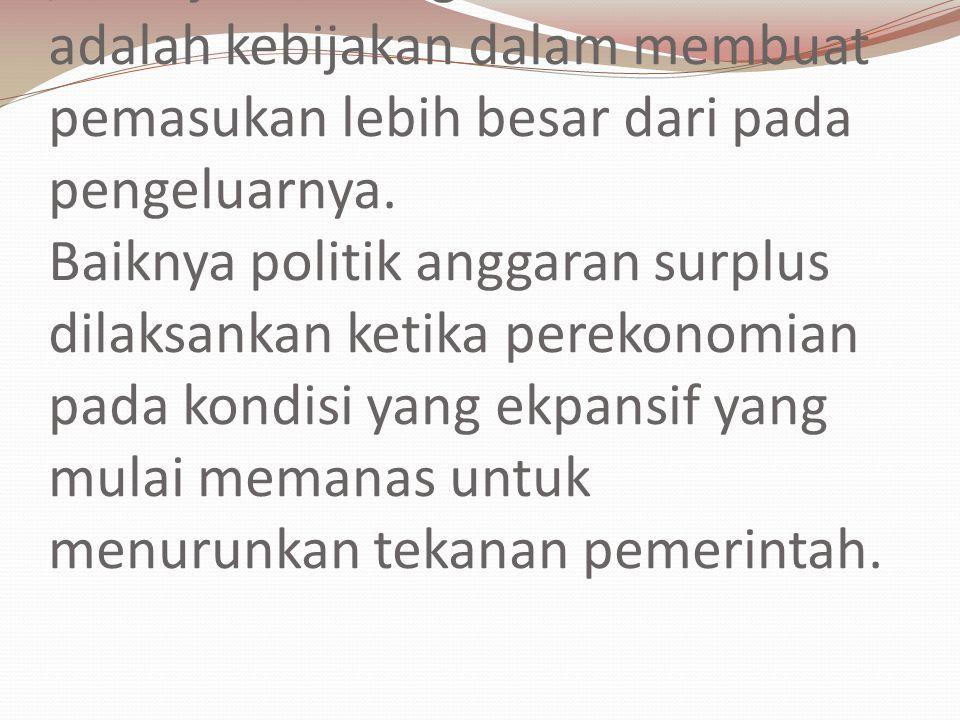 Anggaran Surplus (Surplus Budget) / Kebijakan Budget Kontraktif adalah kebijakan dalam membuat pemasukan lebih besar dari pada pengeluarnya.