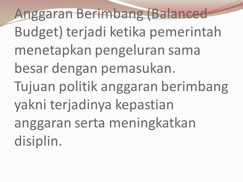 Anggaran Berimbang (Balanced Budget) terjadi ketika pemerintah menetapkan pengeluran sama besar dengan pemasukan.