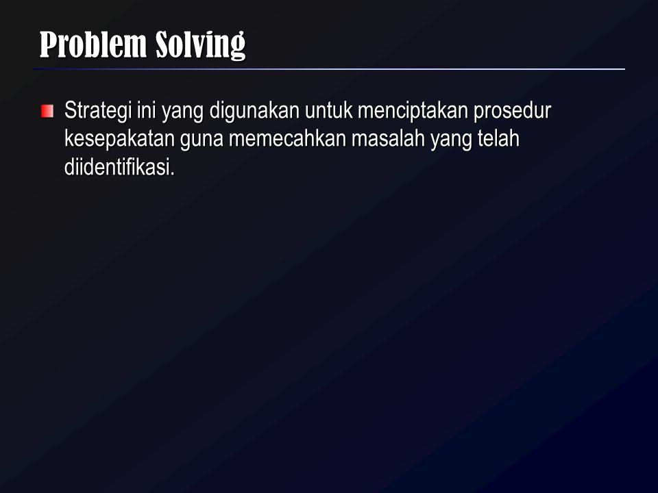 Problem Solving Strategi ini yang digunakan untuk menciptakan prosedur kesepakatan guna memecahkan masalah yang telah diidentifikasi.