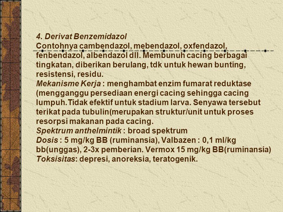 4. Derivat Benzemidazol Contohnya cambendazol, mebendazol, oxfendazol, fenbendazol, albendazol dll.